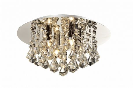 Chloe 4 Light Flush Fitting in Polished Chrome with Crystal Droplets - WW0030